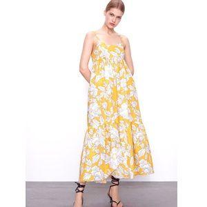 NWT Zara Yellow & White Floral Poplin Cotton Dress